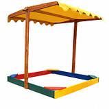 Песочница деревянная с крышкой для двора игровая 145 на 145 см., фото 4