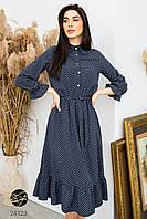 Платье миди темно-синего цвета с принтом в горошек. Модель 24123. Размеры 44-48