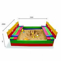 Детская песочница для двора игровая, размер  200х200 см. Дерево. Цветная с крышкой и лавками. Трансформер.