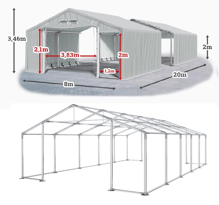 Шатер 8х20 метров ПВХ 600г/м2 с мощным каркасом под склад, гараж, палатка, ангар, намет, павильон садовый