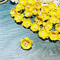Цветы Сливы 25мм Жёлтый с тычинками