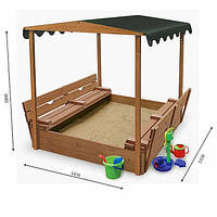 Детская песочница для двора игровая, размер 145х145 см. Дерево. С крышкой и лавками. Трансформер., фото 1