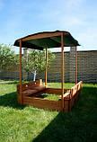 Детская песочница для двора игровая, размер  145х145 см. Дерево. С крышкой и лавками. Трансформер., фото 4