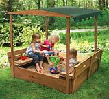 Детская песочница для двора игровая, размер  145х145 см. Дерево. С крышкой и лавками. Трансформер., фото 5