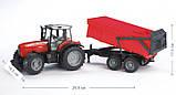Bruder Игрушка машинка трактор Massey Ferguson 7480 c прицепом, 02045, фото 3