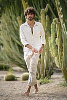 Стильный мужской комплект из льна брюки и рубаха. Размер 46-72+ плюссайз есть