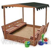 Детская песочница с лавками и крышей