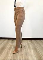 Светлые женские брюки в клеточку. Размеры 44-58