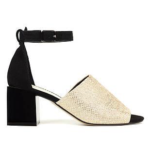 Элегантные кожаные женские босоножки 35-36 Woman's heel со вставками из замши