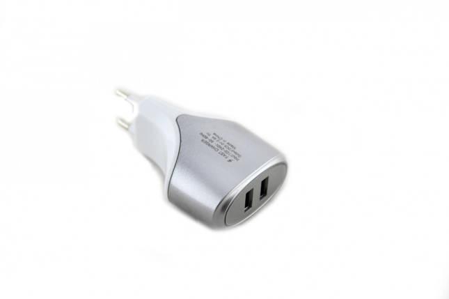 Зарядний пристрій 220В USBx2 mod-007, фото 2