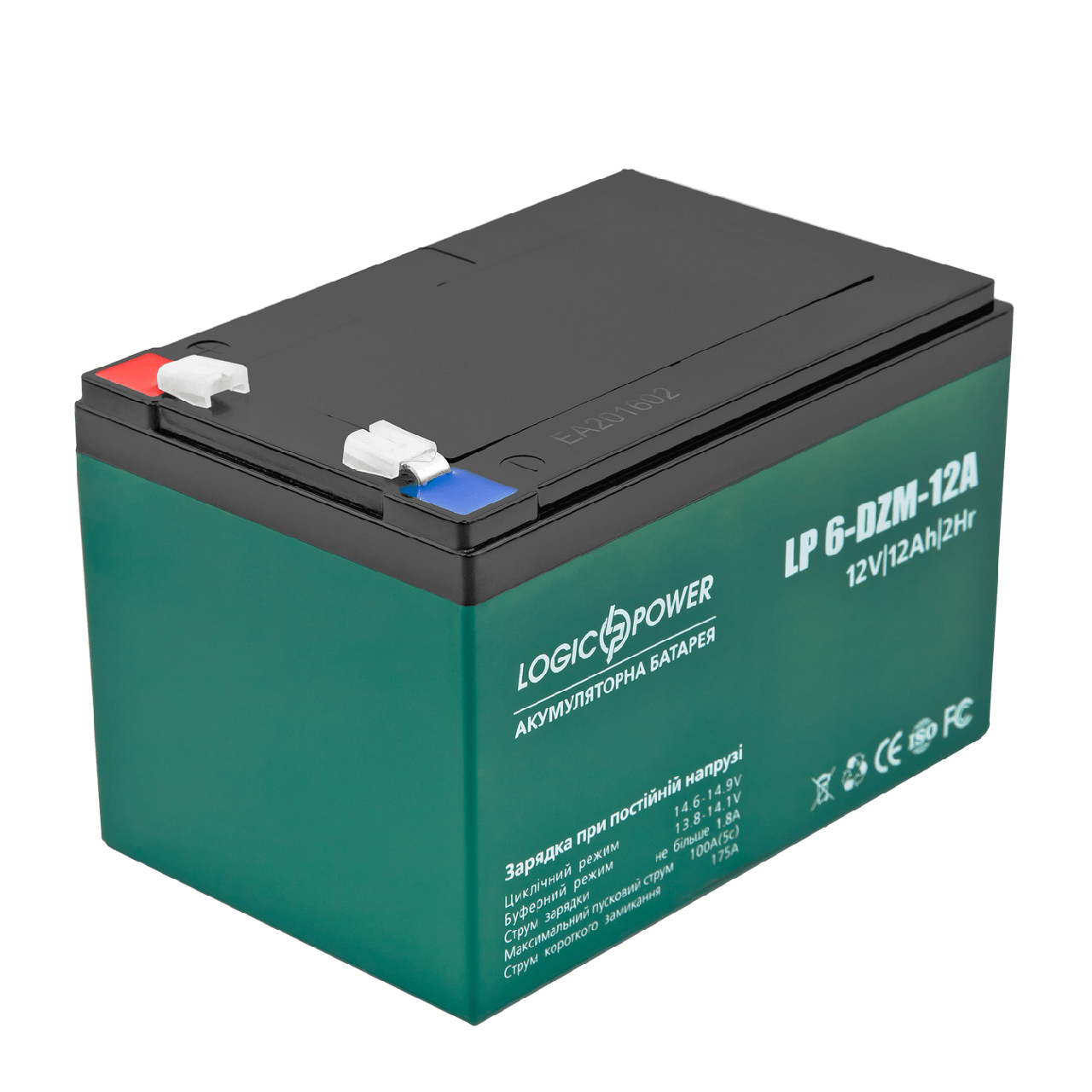 Тяговый аккумулятор AGM LogicPower LP 6-DZM-12 (12В, 12Ач), клемма F2