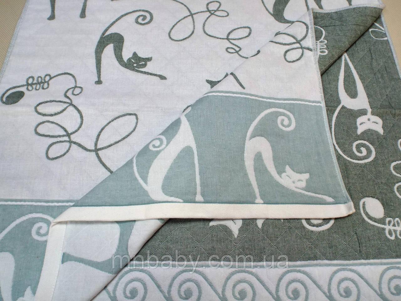 Полотенце хлопковое 70*140 см Зеленый кот