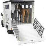 Bruder Игрушка машинка МВ Sprinter транспортёр для животных + лошадка, 02533, фото 3