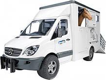 Bruder Игрушка машинка МВ Sprinter транспортёр для животных + лошадка, 02533