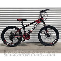 """Спортивный детский велосипед черный с красным ТopRider 22"""" металлическая рама 14"""" детям рост от 130см"""