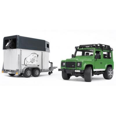 Bruder Игрушка машинка джип Land Rover Defender с прицепом для перевозки лошадей + лошадка, 02592