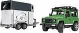 Bruder Игрушка машинка джип Land Rover Defender с прицепом для перевозки лошадей + лошадка, 02592, фото 4