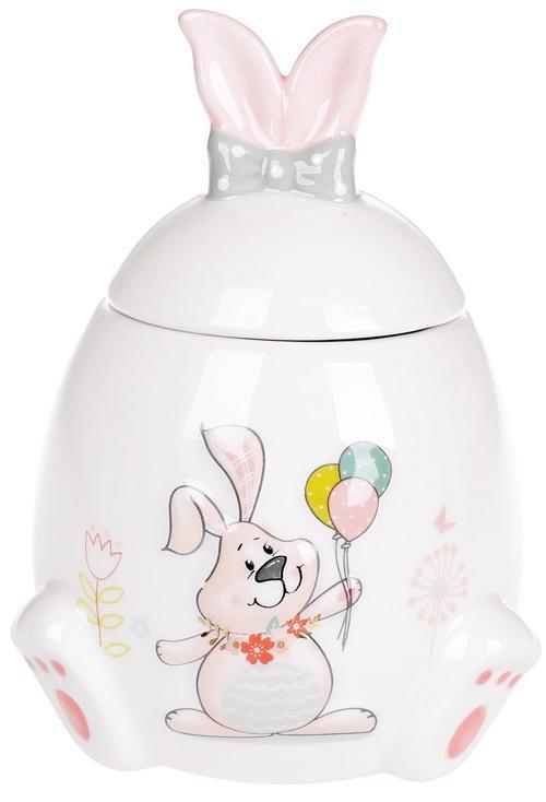 """Банку керамічна """"Веселий кролик з квітами"""" 450мл з об'ємним малюнком"""