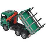 Bruder Игрушка машинка грузовик MAN, перевозчик брёвен с краном-погрузчиком, 02769, фото 5