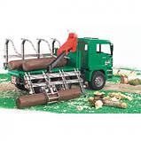 Bruder Игрушка машинка грузовик MAN, перевозчик брёвен с краном-погрузчиком, 02769, фото 7