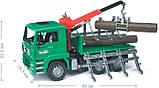 Bruder Игрушка машинка грузовик MAN, перевозчик брёвен с краном-погрузчиком, 02769, фото 8