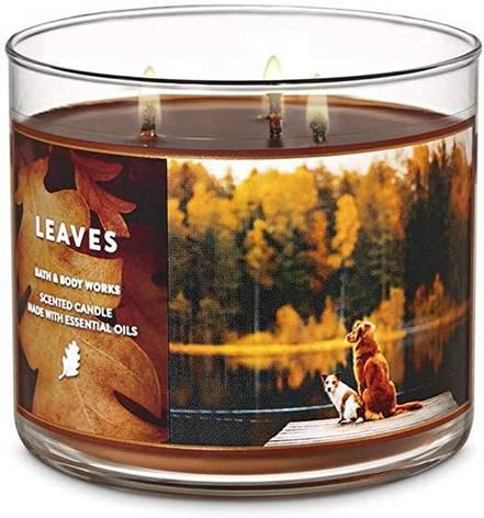 Свеча ароматизированная Bath and Body Works Leaves Scented Candle, фото 2
