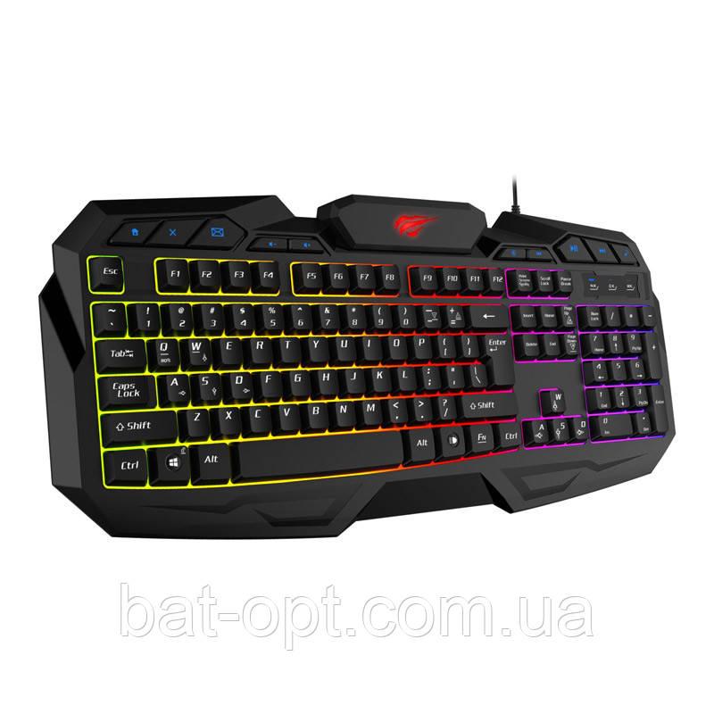 Клавиатура проводная игровая Havit HV-KB406L USB RU с подсветкой, мультимедийная