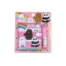 Блокнот детский с ручкой, три медведя розовый