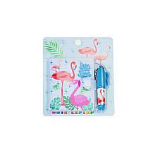 Блокнот детский с ручкой, фламинго голубой