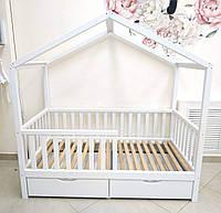 Детская кровать-домик Bedsbee белая с ящиками