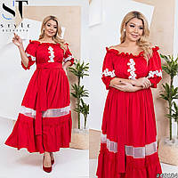 Нарядное платье макси с воланами урашено кружевом , три расцветки р-р 50-52,54-56,58-60 Код 7701Е