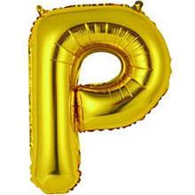 "Фольгована кулька буква ""Р"" золотий 16"""