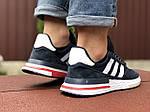 Чоловічі кросівки Adidas Zx 500 Rm (темно-сині з білим) 9364, фото 4