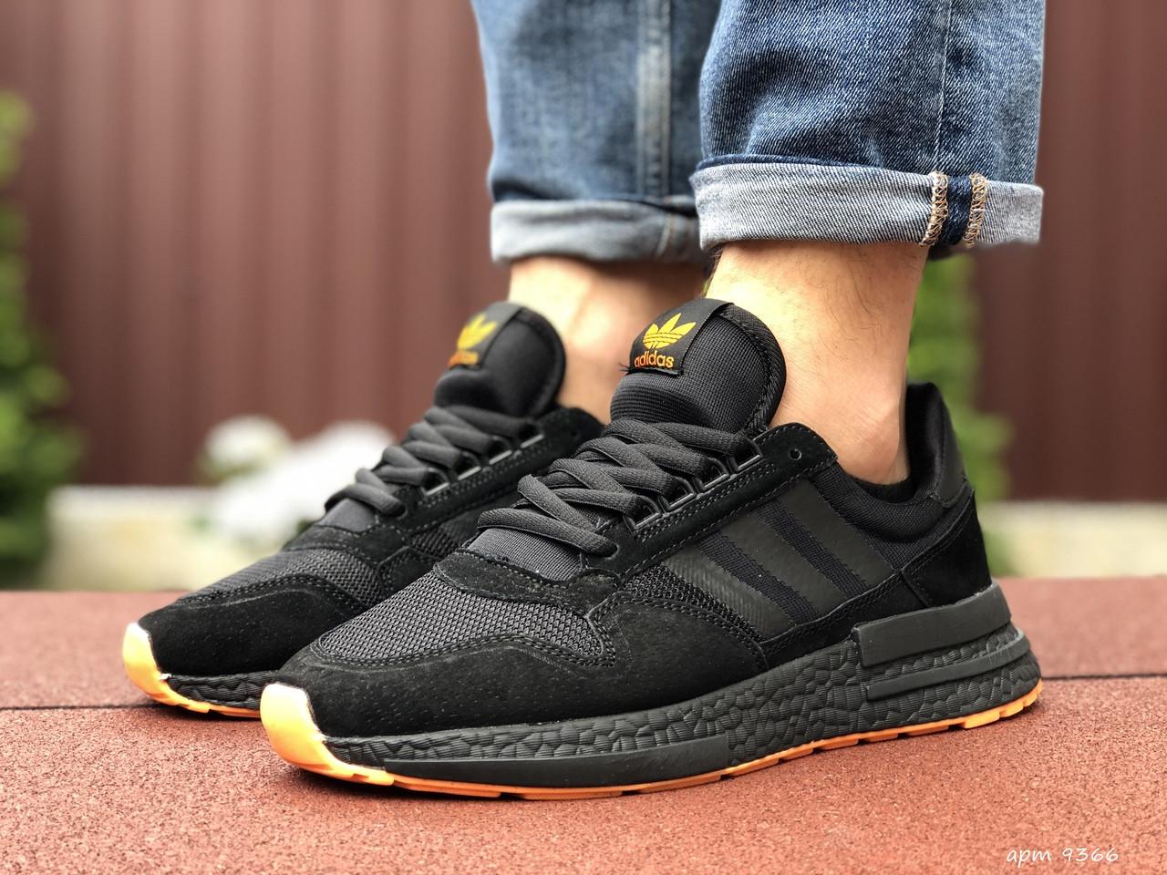 Мужские кроссовки Adidas Zx 500 Rm (черно-оранжевые) 9366