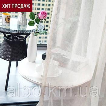 Льняная тюль на ленте турецкая ALBO 400x270 cm Белая (T-L-4)