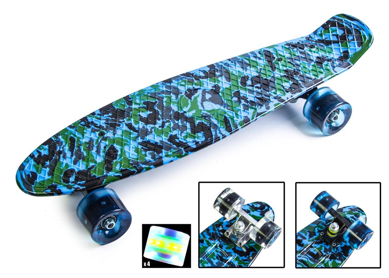 Пенниборды Penny Board Ultra Led 22 - Пенні борд Камо синий 54 см