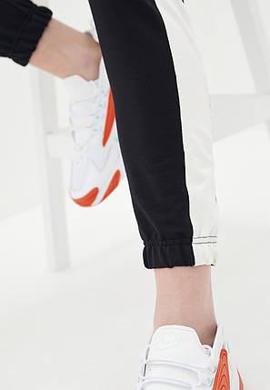 Штани жіночі з лампасами, чорний - білий, фото 2