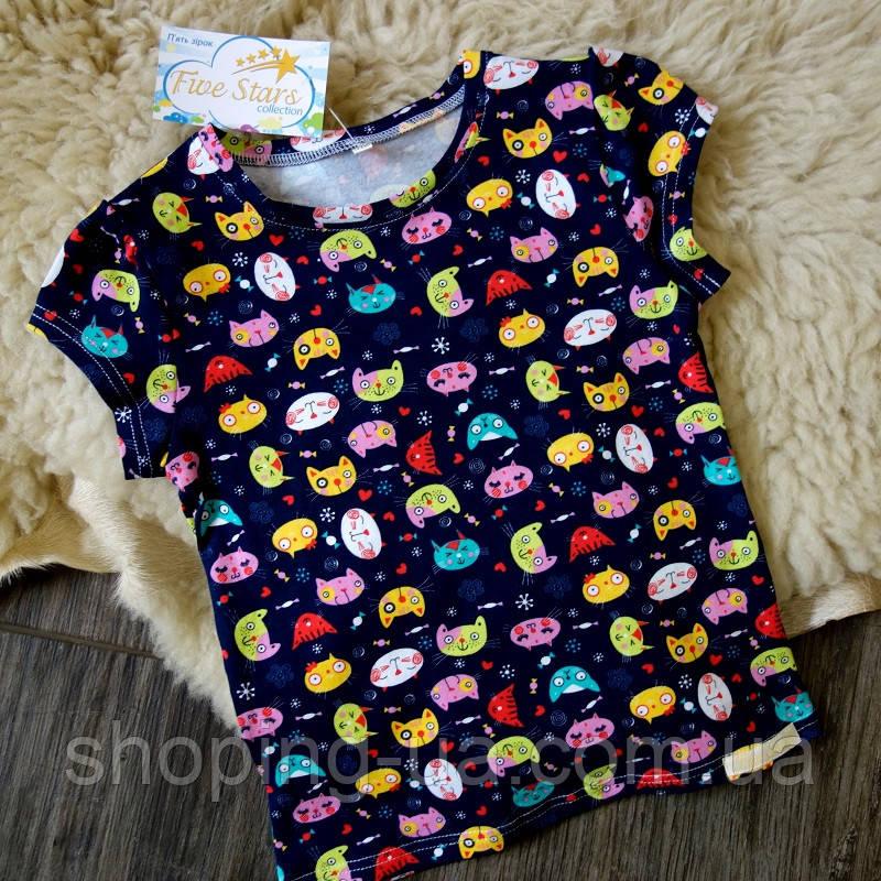 Детская футболка темно синяя с котиками Five Stars KD0314-122p