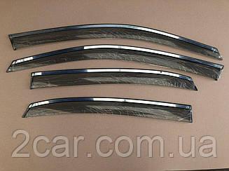 Дефлекторы окон Hyundai Elantra V седан 2011-2016 Хром. Молдинг (Ветровики) ALVI