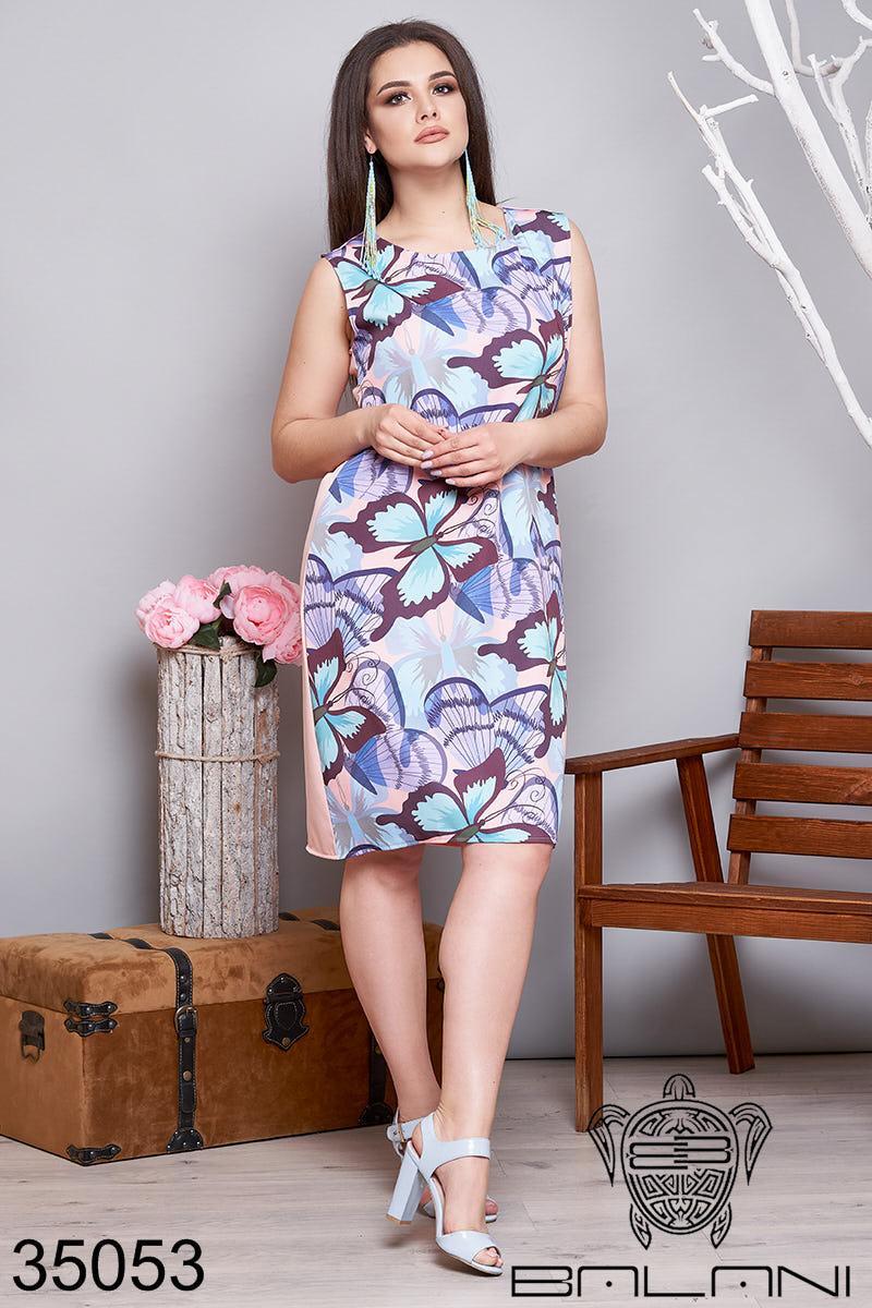 Женское платье прямого кроя без рукавов 48-50,52-54
