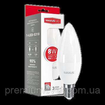 Лампочка светодиодная 1-LED-5318 LED C37  CL-F 8W 4100K 220V E14