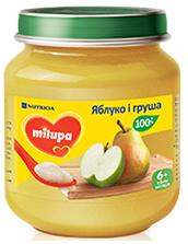 Дитяче пюре фруктове «Яблуко і Груша» Milupa 125 гр від 6 міс