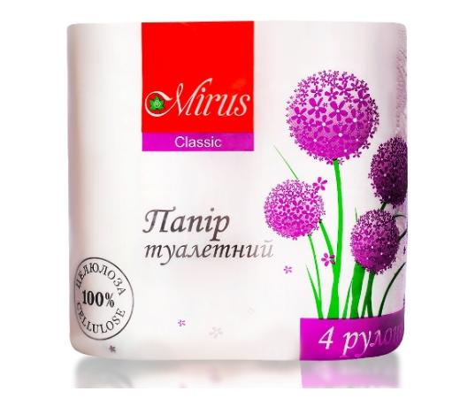 Туалетная бумага , стандартный рулон 4 шт ТМ Mirus Мирус