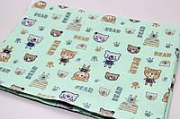 Непромокаемая пеленка детская, бязь и махра с мембраной (мишка)