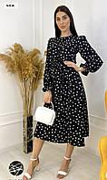 Платье женское черное в белый горох
