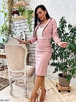 Стильный женский костюм жакет и юбка-карандаш из эко кожи арт 3666