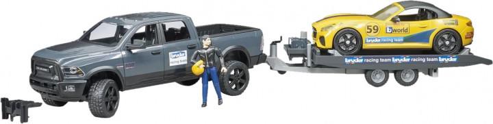 Bruder Игрушка машинка джип Dodge RAM 2500 с прицепом-эвакуатором и родстером, 02504