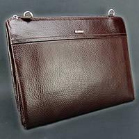 Папка сумка кожаная на плечо планшет темно коричневый Desisan 1314-019