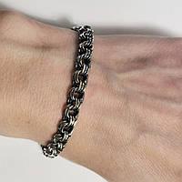 Браслет зі срібла з чорнінням Бісмарк потрійний, розмір 21, фото 1