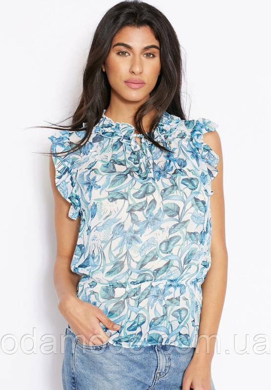 Женская блуза шифоновая голубая Mango